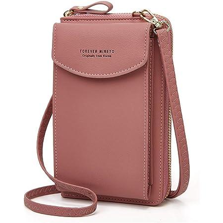 Handy Umhängetasche Damen,Aeeque Handytasche zum Umhängen Leder,Universal Handy Schultertasche Handtasche Portmonee Geldbörse Kompatible mit iPhone 5 iPhone 11 Pro Max iPhone 8 7 XR 12 Pro X - Pink