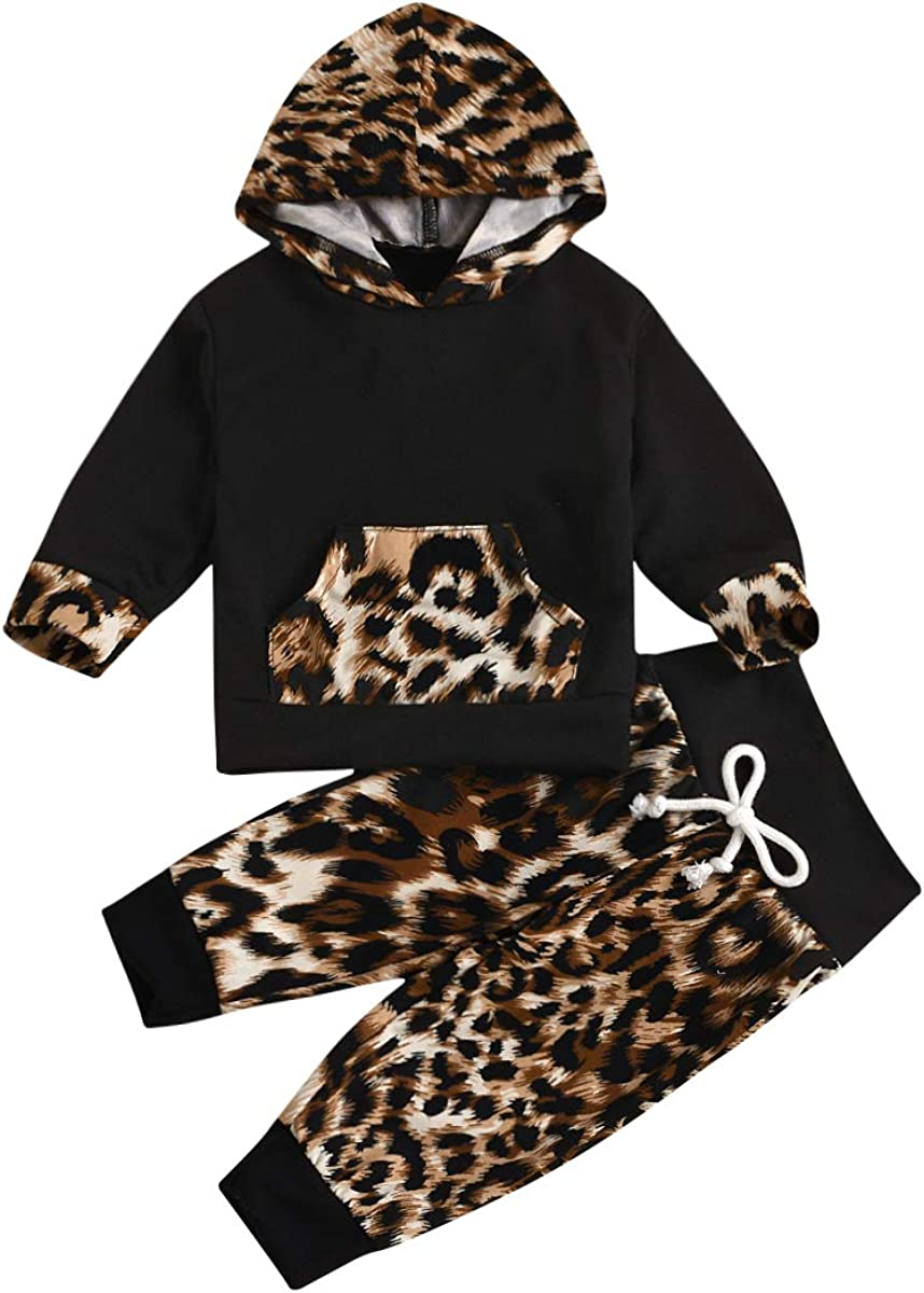 Toddler Baby Girl Boy Winter Warm Outfit Leopard Clothes Set Hoodie Sweatshirt Long Sleeve Hooded Top Pants