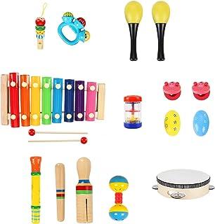 HassoKon Instruments de musique pour bébé - 20 pièces - Batterie en bois - Jouet musical pour enfants - Éducation précoce ...