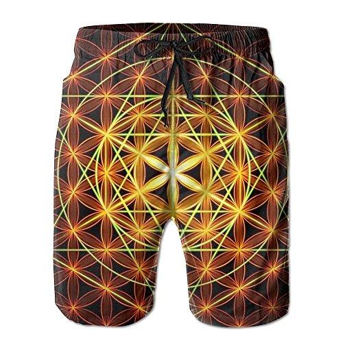 Hexágono Flor de la Vida Pantalones Cortos de Playa para Hombre Troncos de Surf Pantalones de Tabla de Surf para Hombres