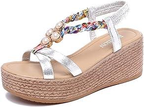 YWLINK Sra. De Comercio Exterior Perlas De Fondo De Muffin De TacóN Alto con CuñAs con Sandalias Boca De Pez Zapatos De Playa Zapatos Romanos Antideslizante Zapatillas