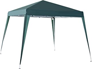 Outsunny Carpa Cenador Plegable para Exterior para Jardín Camping Fiesta Tienda Eventos – Color Verde Oscuro