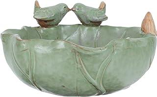 Generic Ceramic Birdbath Bowl Bird Feeder Plate with Hole Bird Figurine Wild Finch Bird Feeder Water Baths Bird Food Holde...
