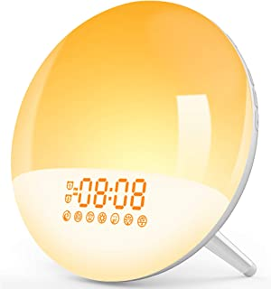 Wake Up Light, LBell Sunrise Alarm Clock 7 Alarm Sounds/7 Colorful&FM Radio, Dual Alarm Clock with USB Charging Port, Slee...