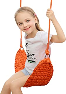 Kids Swing Seat,Indoor Swing Seat for Kids Tree Swing Set Outdoor Portable for Camping Outside Playground Backyard(Orange)