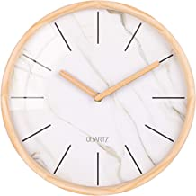 Wall Clock, Classic Numbers Analog Clock with Wooden Frame, Silent Non-Ticking Clock for Bedroom, Living Room, Kitchen, Cafe, Office - 12 Inch 12 Inch
