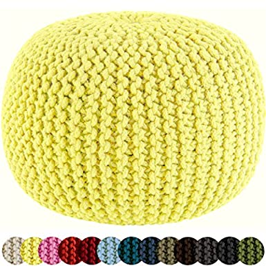 COTTON CRAFT - Hand Knitted Cable Style Dori Pouf - Yellow - Floor Ottoman - 100% Cotton Braid Cord - Handmade & Hand Stitched - Truly one of a Kind Seating - 20 Dia x 14 High