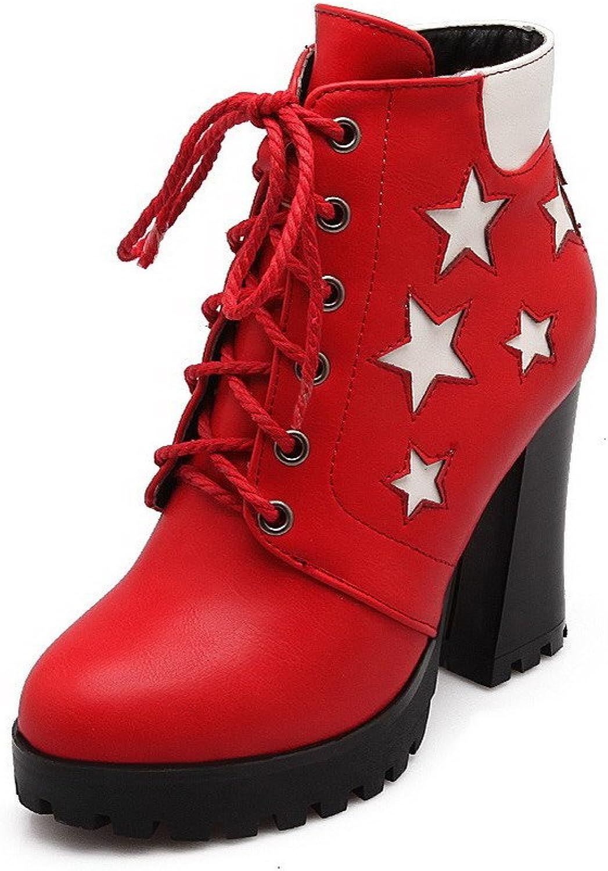 WeenFashion Women's High-heels Round Closed toe Blend Materials Boots
