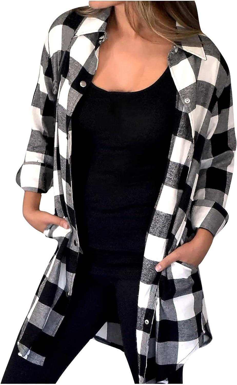 Women's Oversized Plaid Tops Business Casual Button Down Shirt Long Sleeve Lapel Asymmetrical Hem Blouse Loose Jacket