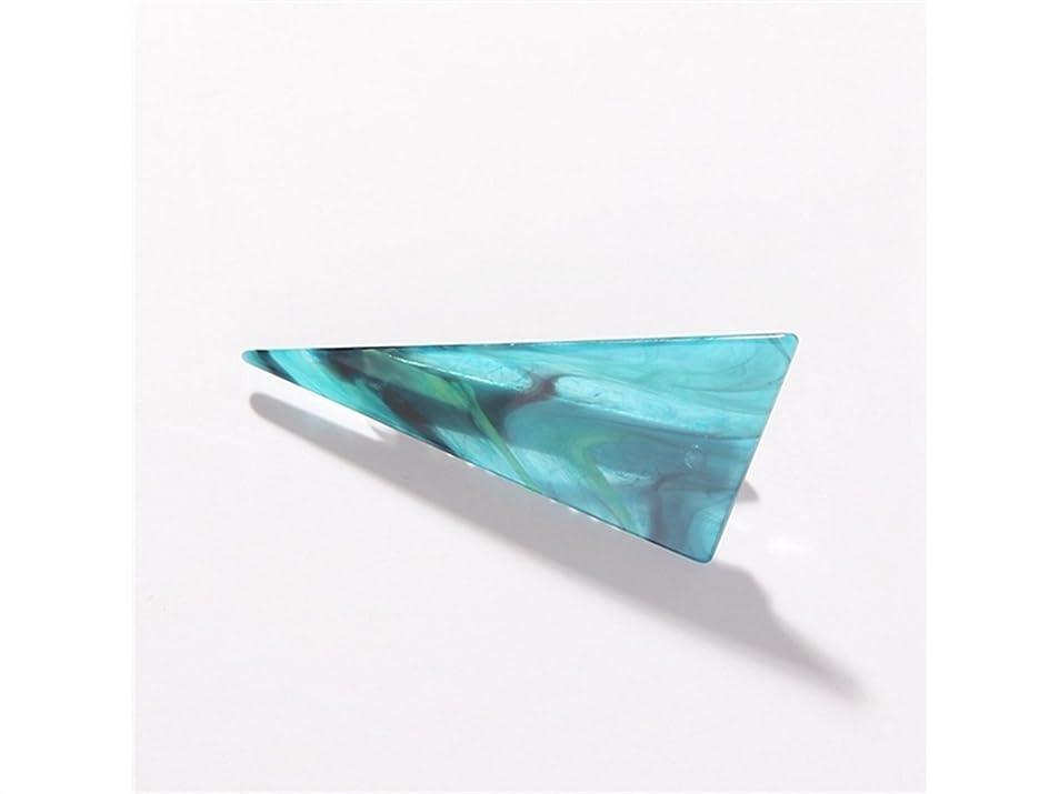 不名誉スペイン語くるみOsize 美しいスタイル 大理石の三角ステッチ大人のヘアクリップダックビルクリップヘアアクセサリー(ライトグリーン)