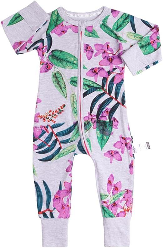 Bebé Niñas Pijamas Peleles Algodón Mamelucos Monos Mangas Largas Trajes con Cremallera 3-6 Meses: Amazon.es: Bebé