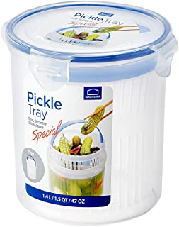 glass pickle container with strainer