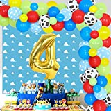 Toy Inspired Story 4th Birthday Decorations - Cartoon Red Yellow Blue Balloons Garland Kit, Cloud Backdrop & Cow Balloons for Kids 4 Years Old Birthday Party Supplies