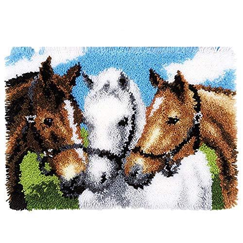 WYOUTDOOR Horse DIY Latch Crochet Crochet Tapis Coussin Coussin Tapis Tapis Tache Taiette Crochet Artisanale À La Main avec Toile Imprimée pour Enfants Adultes Décoration