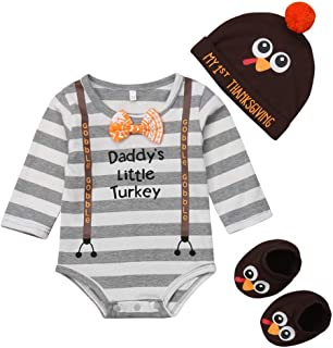 Newborn Infant Baby Boy Girl 3pcs Thanksgiving Outfit Daddy's Little Turkey Long Sleeve Romper Turkey Hat Socks Set