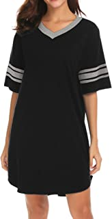 Women's Nightgown, Cotton Sleep Shirt V Neck Short Sleeve Loose Comfy Pajama Sleepwear S-XXL