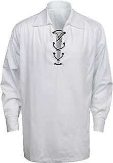 Men's Scottish Jacobite Ghillie Kilt Highland Shirt Long Sleeve Lace Up Medieval Renaissance Pirate Costume
