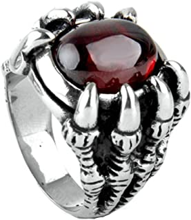 Mens Accessories Stainless Steel Ring Dragon Claw with Red Oval Stone Band Rings for Men Ring