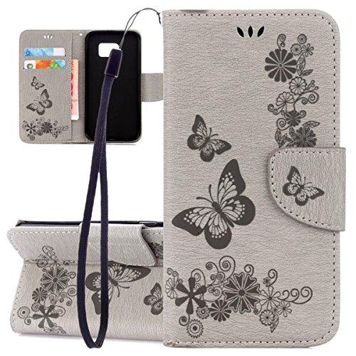 ISAKEN compatibile con Samsung Galaxy S6 Edge Custodia, Libro Sbalzato Embossed Wallet Cover in Pelle PU Flip Portafoglio Caso con Supporto di Stand/Carte Slot/Chiusura - Farfalla: grigio