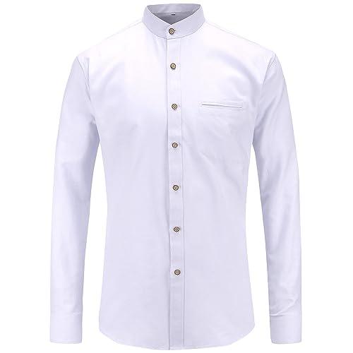 d57bed3f5db48e JEETOO Mens Grandad Collar Oxford Shirt Long Sleeve
