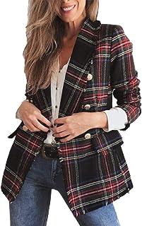 Frolada Blazer Para Mujer Abrigo De Tweed Chaqueta A Cuadros Verde Y Rojo Oficina Cárdigan De Lana De Doble Cara Cuadros E...