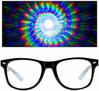 GloFX Spiral Ultimate Diffraction Glasses – Rave Prism Grating Glasses Rainbow Firework Spirals