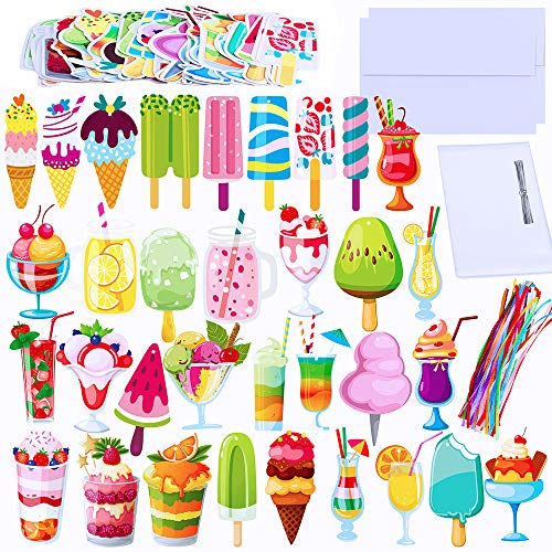 Supla 62 Sets Summer Bookmarks Bulk Double-Sided Cute Colorful Bookmarks Assorted Cold Drink Dessert and Ice Cream Cutouts Die Cut Stationery for Kids Students Teachers Rewards Party Favors Book Lover