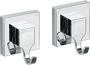 WENKO Vacuum-Loc® wandhaken Quadro 2-delige set, badhaken, keukenhaken, bevestigen zonder boren, kunststof (ABS), 6 x 7 x ...