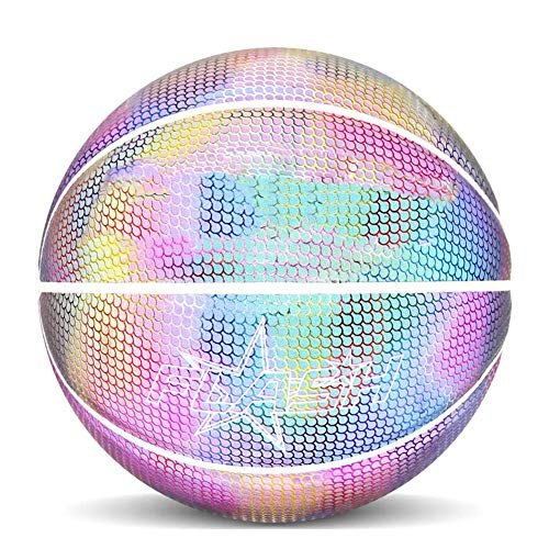 Sale!! Thethan Holographic Glowing Reflective Basketball Lighted Glow Basketball Night Game Portable