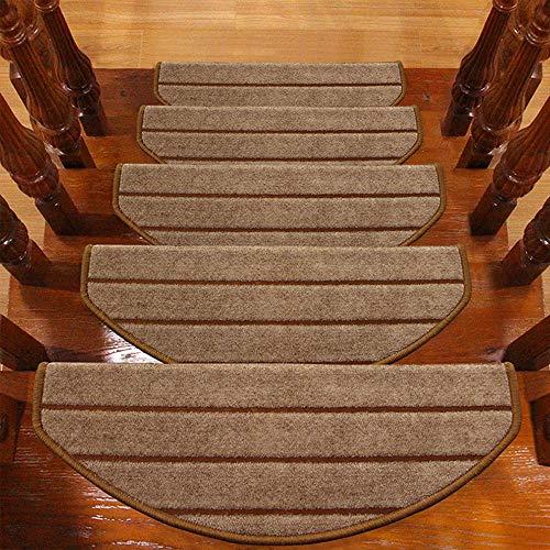 TOUCHFIVE Klettverschluss Klebend Treppenteppich Stufenmatte Treppenstufen Matten | Halbrund | - 15 Stück für Raumspartreppen/Wendeltreppen (Kaffee gestreift, 65 * 24+3cm)