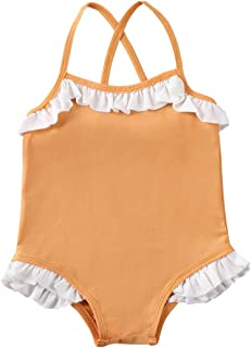 Voberry Kids Baby Girls Summer Ruffles Letter Swimsuit Toddler Bikini Swimwear Bathing Suit Baby Girl Swimsuit