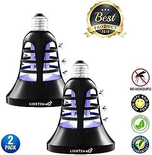LIGHTSMAX Bug Zapper Light Bulb - [2019 Upgraded] 2 in 1 Electronic Insect Killer, Mosquito Killer, Fly Killer UV Lamp, 110V E26/E27 Light Bulb Socket Base for Indoor and Outdoor (2)