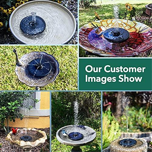 OKMEE Solar Fountain Upgraded 4-in-1 Nozzle, 2.2W Solar Powered Fountain Pump with 7 Water Styles, Solar Bird Bath Fountain for Bird Bath, Pond, Pool, Fish Tank, Aquarium and Garden, Black