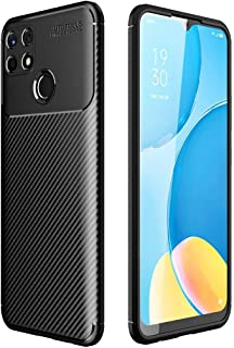 Realme C25 / Realme C25s, Flexible Rugged Armor Case with Brushed Carbon Fiber Pattern - Black