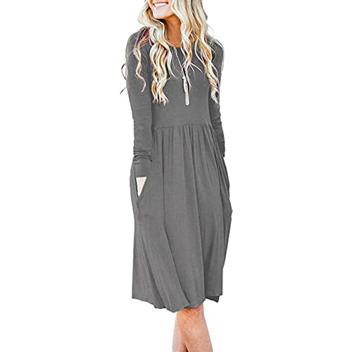 be25c3ef59 AUSELILY Women s Long Sleeve Pockets Empire Waist Pleated Loose Swing  Casual Flare Dress