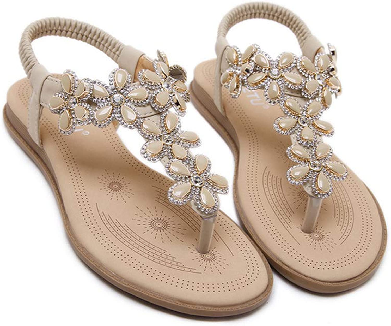 Women's Flat Sandals, Rhinestone Flower Shape Clip Toe Flops Sandals,Bohemian Summer Beach Party shoes