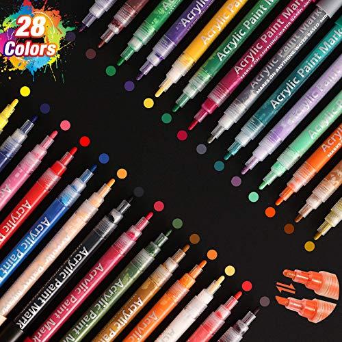 SAWAKE 28 Acrylstifte für Steine wasserfest, 0,7-3 mm Doppelspitze Permanente Marker, Acrylfarben Set für Scrapbooking DIY Fotoalbum Marker Holz Leinwand Hochzeit Glas Metall Porzellan Lettering