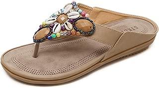 Women's Wide Width Fashion T Strap Flat Sandals Bohemia Rhinestones Thong Flip Flops Beach Shoes