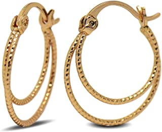 Spirale 18 carats ISADY Carina Gold - Oxyde de zirconium Boucles doreille Plaqu/é Or 750//000 Torsade Pendants