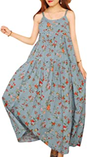7949a52a88 YESNO Women Casual Loose Bohemian Floral Print Empire Waist Spaghetti Strap  Long Maxi Summer Beach Swing