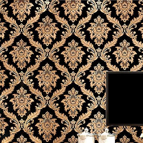 KeTian - Carta da parati tessuto non tessuto damascata, stile europeo, colore nero e oro, adatta per salotti, stanze da letto, sfondi televisivi, 0,53 x 10 m (larghezza x lunghezza) = 5,3 m²