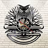 FDGFDG Owl Ornament Vinyl Record Black Clock Uhr Abstract Bird Led Wandleuchte Nachttisch Wandlampe...
