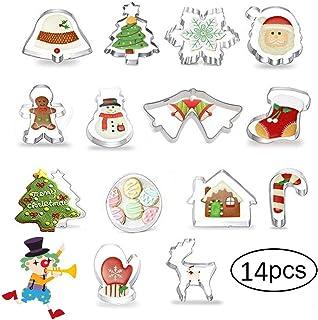 10 PCS heekpek Formine Biscotti Natale 20 Pezzi Formine Biscotti in Acciaio Inossidabile Albero di Natale Fiocco di Neve Renne Pupazzo di Neve Babbo Natale Campana per Bambini