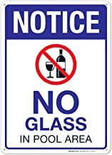 No Glass in Pool Area Sign, Pool Sign 10x14 Rust Free Aluminum UV Printed, Easy to Mount Weather Resistant Long Lasting Ink Made in USA by SIGO SIGNS