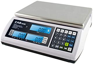 CAS S2000Jr 30 Pound Capacity - LCD Display - 3 Direct PLUs annd 199 Indirect PLUs - Food or Retail Industry Scale - NTEP ...