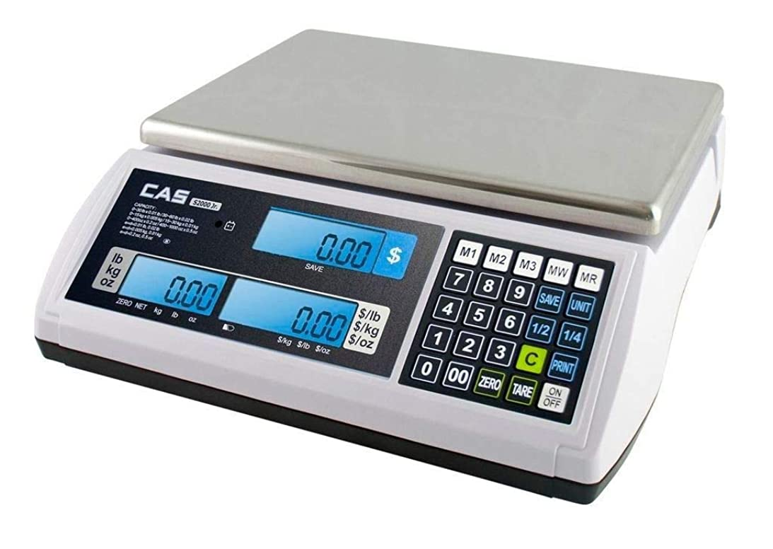 破産独占民兵CAS S-2000 Jr Price Computing Scale with LCD Display 60 lbs by CAS