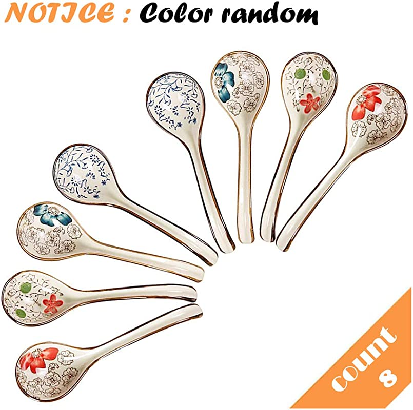 STAR TOP Hand Made Ceramics Long Handle Spoons Perfect For Family Use Set Of 8
