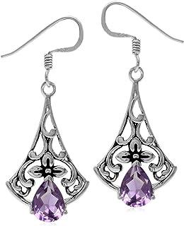 7x9mm Oval Cut Earrings White Topaz Earrings Amethyst Latch Back Earrings 925 Silver Earrings Amethyst Earrings Amethyst Stud Earrings