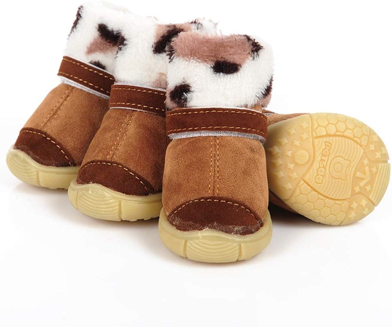 SENERY Pet Dog shoes Boots,Winter Pet Dog Puppy Cotton shoes Warm Leopard Print Suede Fabric Boots