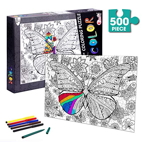 TWING Jigsaw Puzzles 500 Piece Puzzle of Animal, DIY Coloring Jigsaw Puzzle with Color Pen Set, Arts and Craft Supplies for Adult for Kids